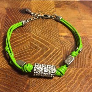 Lia Sophia leather/silver color/crystal bracelet